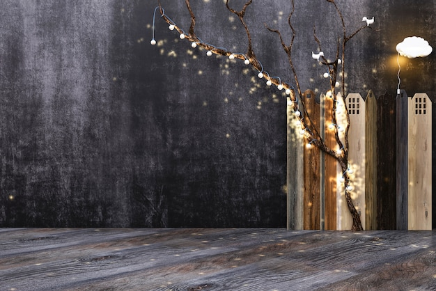 Wooden floor board or table on the background of the wall for chalk