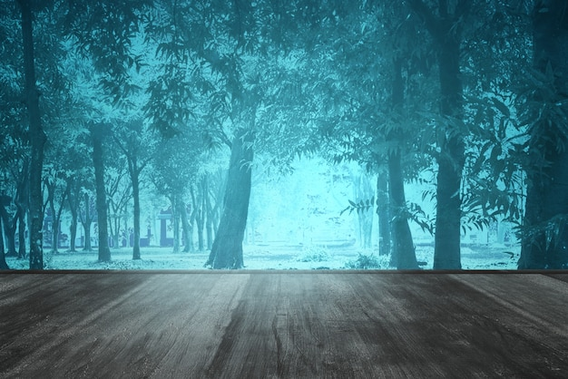 Wooden floor in the forest with smoke and fog with night scene