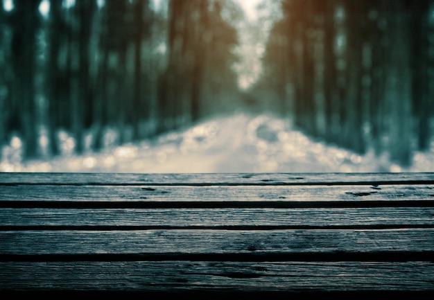 Wooden floor in forest.