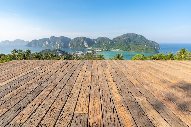 Wooden floor phi phi island viewpoint 2, seeing the beautiful atmosphere of the whole island, located in krabi province, thailand.