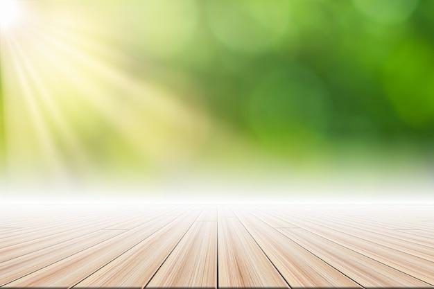 Wooden floor scene background green bokeh with sun light