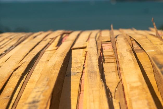 Wooden floor behind the sea