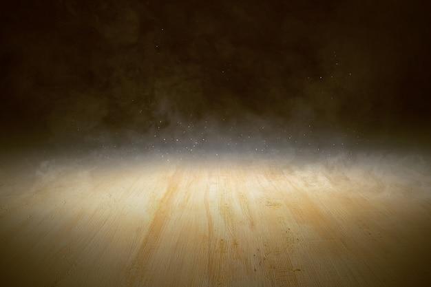 Деревянный пол с дымом и светом