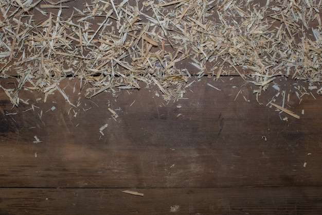 Wooden floor with straw