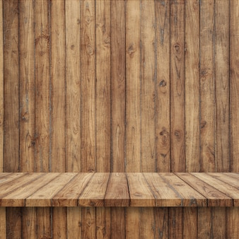 Wooden floorboards with wooden wall