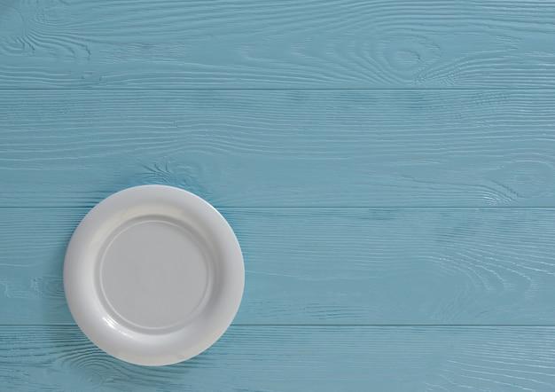 빈 접시와 나무 음식 배경