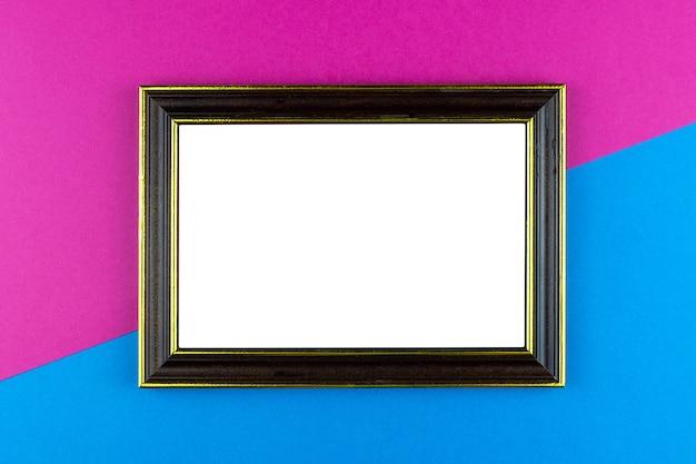 Wooden frame blue background