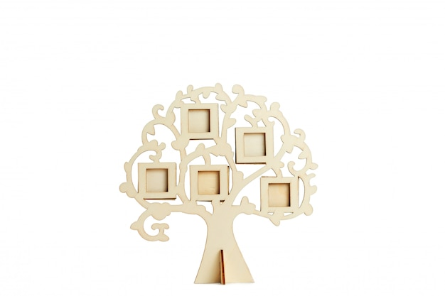 Wooden frame of the family tree on a white surface