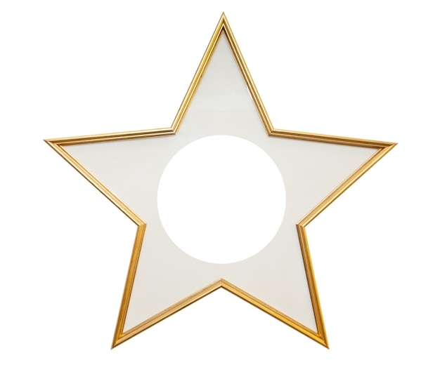 白い表面に分離された星型の木製フレーム