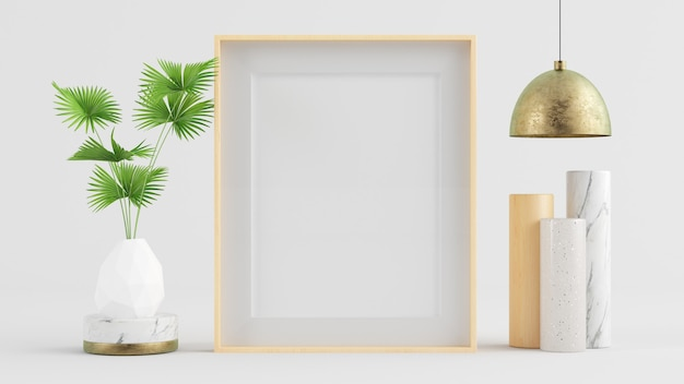 Wooden frame mock up with lamp, plant and surreal artwork 3d rendering