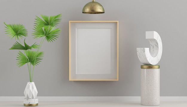 Wooden frame mockup with plant and surreal artwork 3d rendering