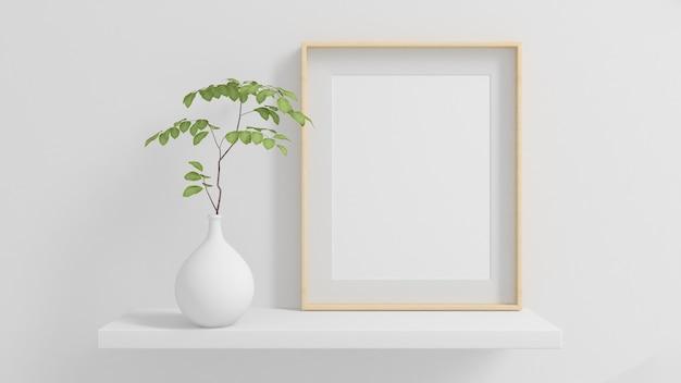 植物の最小限のモックアップ3dレンダリングと棚の上の木製フレーム