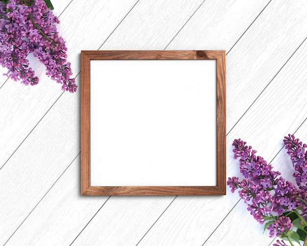 Wooden frame on a painted white background