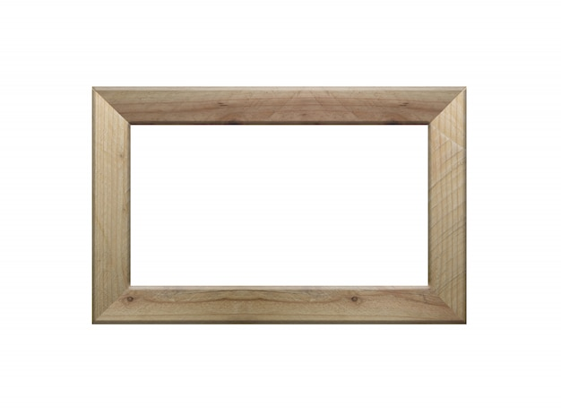 Wooden frame picture isolated on white.