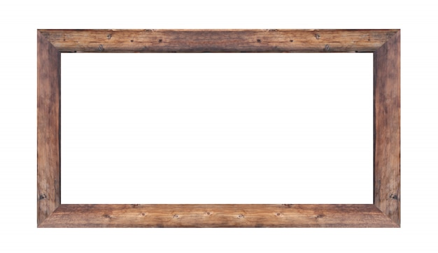 Wooden frame picture isolated
