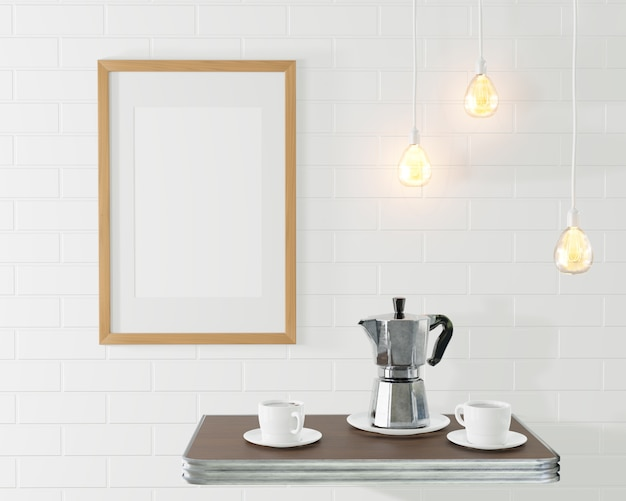 The wooden frame for the picture near coffee table with coffe pot and cups