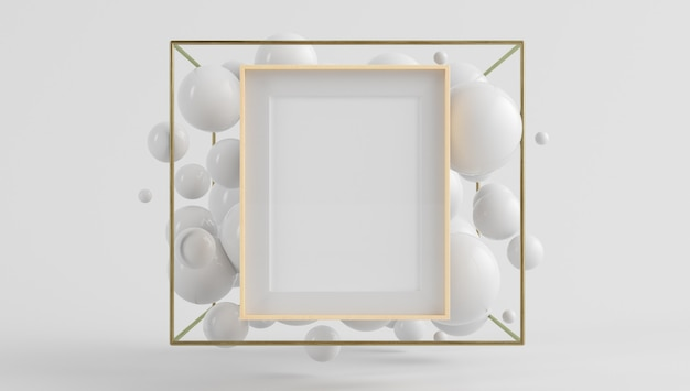 Wooden frame poster mock up on surreal scene with floating bubbles 3d rendering