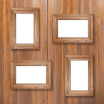 Wooden frame on wooden background