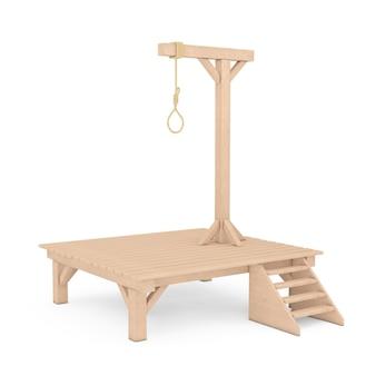 白い背景にぶら下がっている縄ロープ結ばれた結び目と木製の絞首台。 3dレンダリング