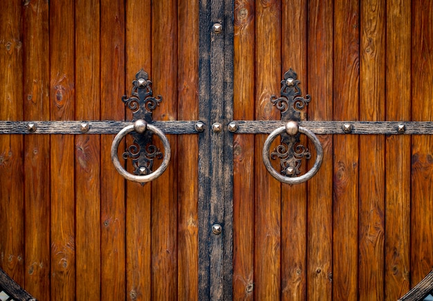 Wooden gate with wrought iron elements