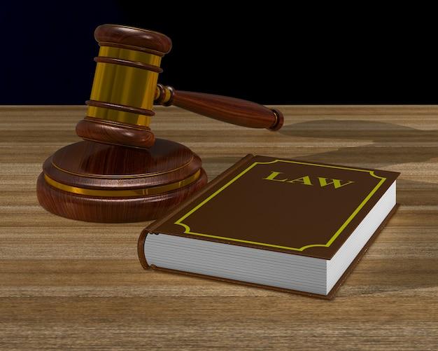 Деревянный молоток и книга на столе. 3d иллюстрации