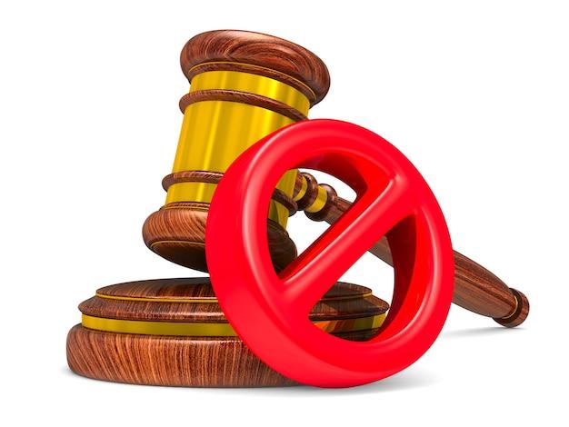 Деревянный молоток и знак запрещены на белом фоне. изолированная 3-я иллюстрация