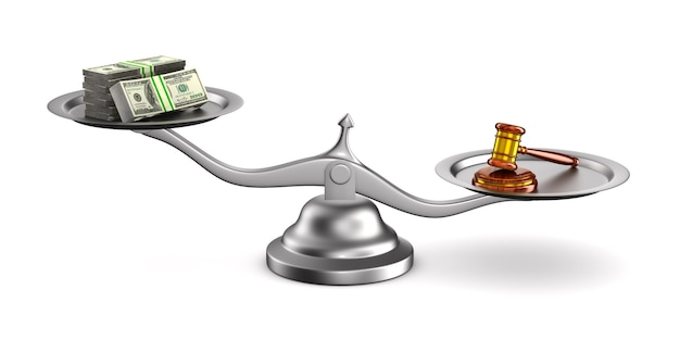 Wooden gavel, money and scale on white