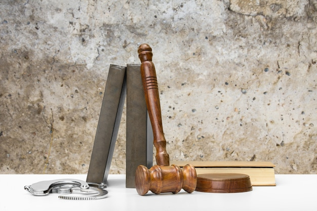 Wooden gavel on the table