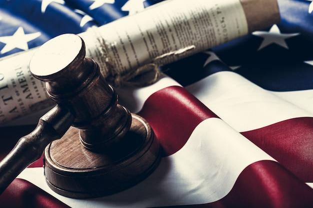 Wooden gavel and usa flag