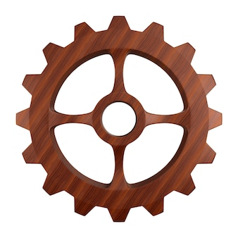 Wooden gear on white. isolated 3d illustration