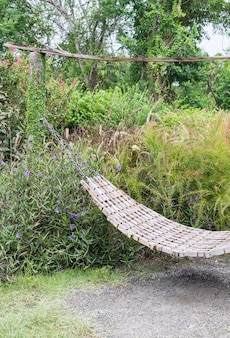 Wooden hammock with metal chain