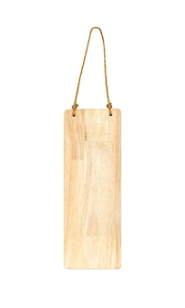 Wooden hang tag with rope isolated on white