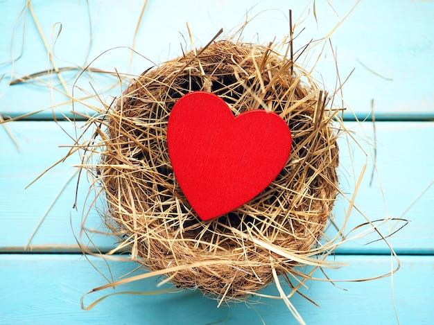 Деревянное сердце в гнезде на синем фоне