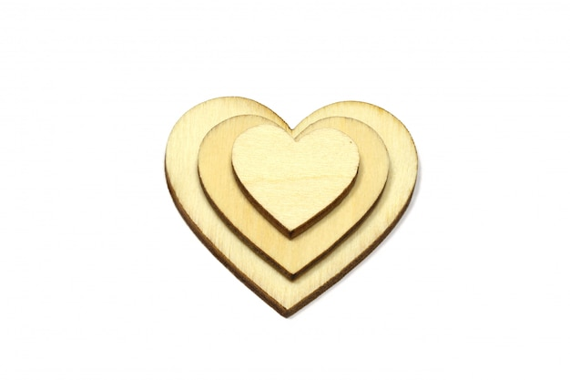 Wooden heart shape isolated on white background
