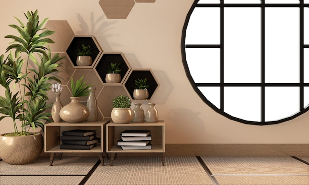 Wooden hexagon shelf and tiles on wall and wooden cabinet and wooden vase decoration on tatami mat floor, 3d rendering