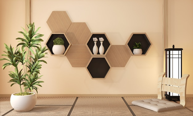 Wooden hexagon shelf and wooden hexagon tiles, decoration japanese style, 3d rendering
