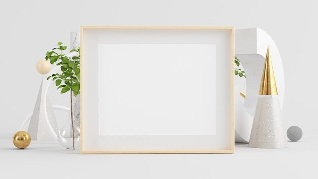 Wooden horizontal frame mock up on minimal abstract background 3d rendering