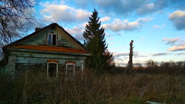 Wooden house in an abandoned village