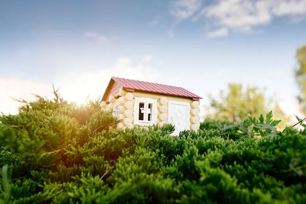 Деревянный дом из бревна на фоне травы