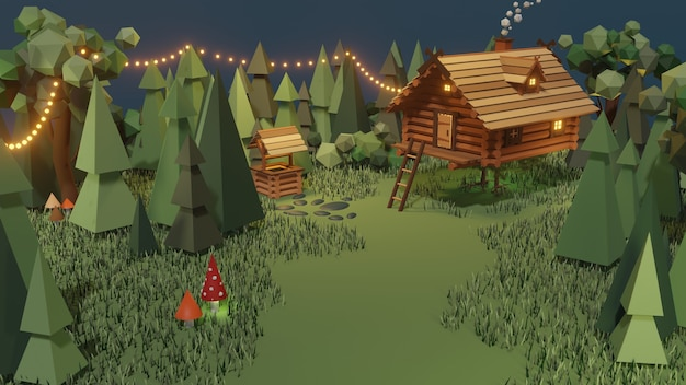 Wooden house from magical fairy tale in forest. baba yaga hut on chicken legs in wood.
