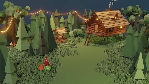 Деревянный дом из волшебной сказки в лесу. изба бабы яги на куриных ножках в лесу.