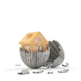 古い壊れた卵殻から孵化する木造住宅