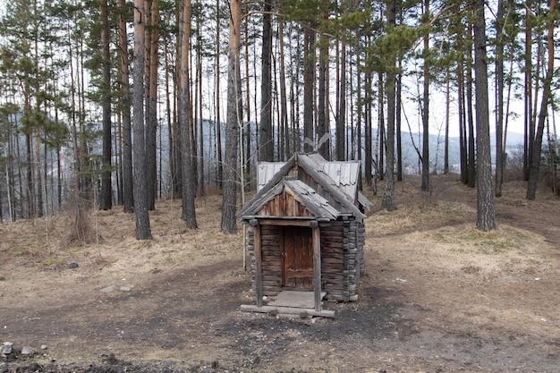 Деревянный дом. изба на куриных ножках. сказочная избушка бабушки яги.