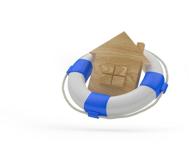 Икона деревянный дом в спасательном круге