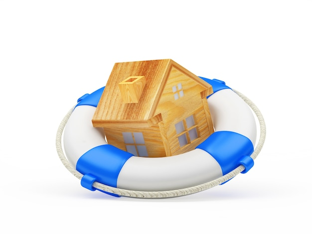 Wooden house icon in lifebuoy