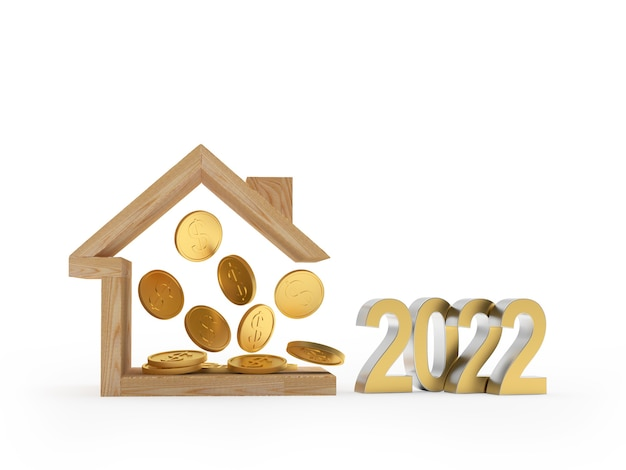 Икона деревянный дом с долларовыми монетами и новогодним числом