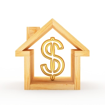 Wooden house icon with dollar sign