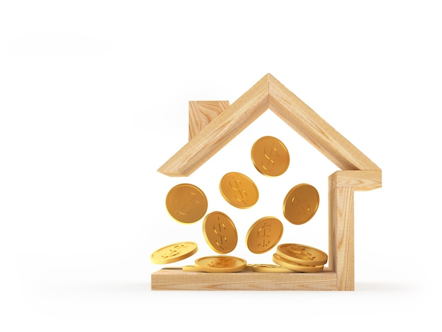 Wooden house icon with gold coins inside