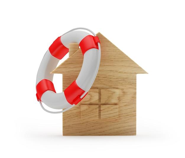 Икона деревянный дом со спасательным кругом на крыше
