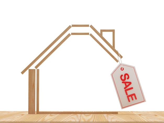 ラベルにsaleという単語が付いた木造住宅のアイコン
